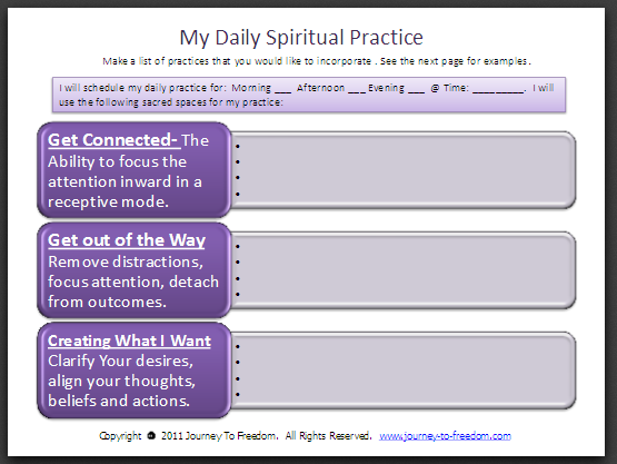 ... Free Downloadable tools and worksheets to help you on Your Journey